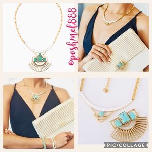 :: S&D Turquoise & Gold Sunray Pendant Necklace